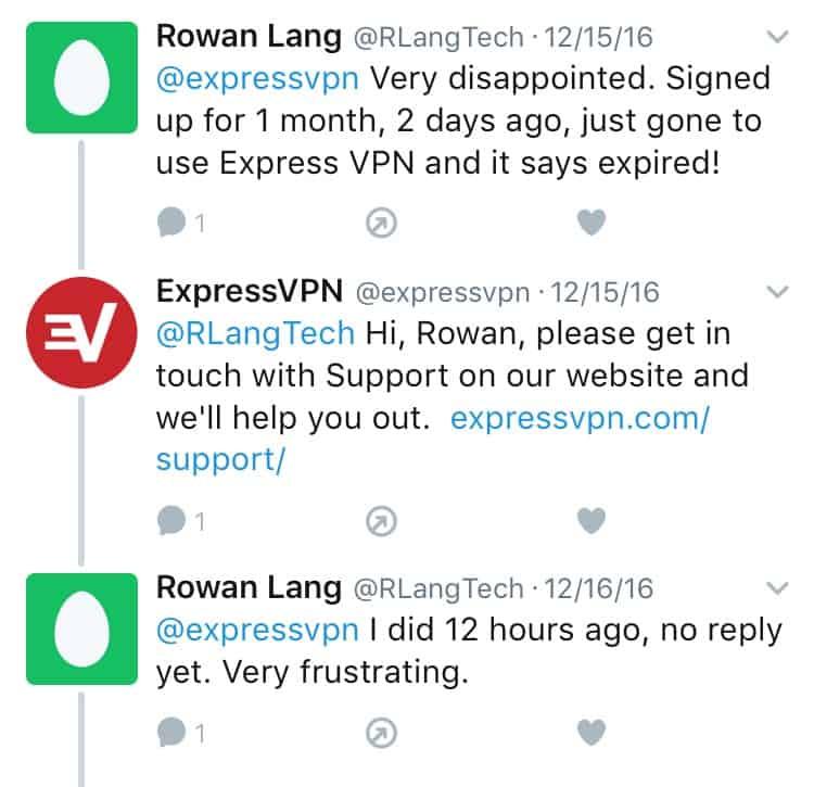 ExpressVPN Twitter Feedback