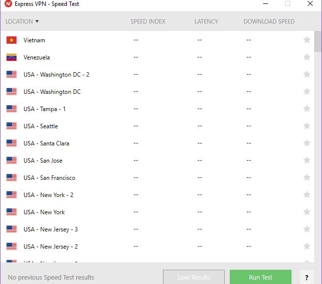 ExpressVPN Speed Test List Of Servers