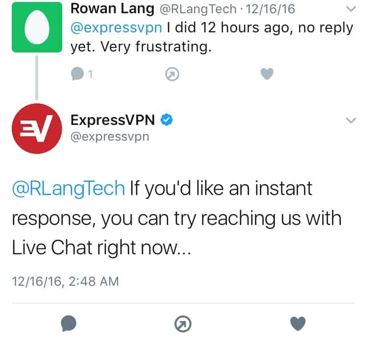 ExpressVPN Twitter Feedback 2