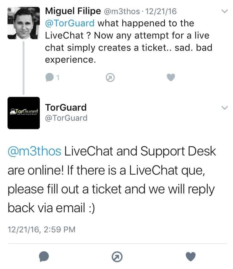 Torguard VPN Twitter Feedback