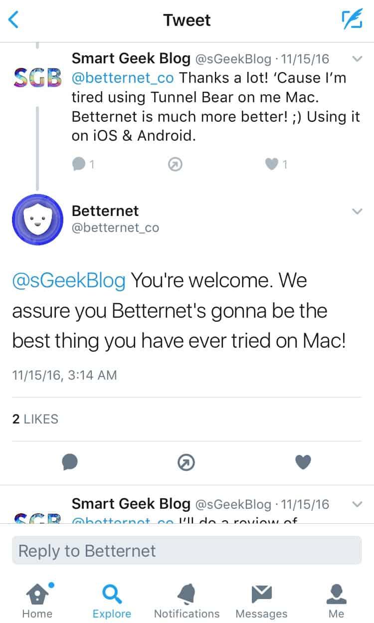 BetternetVPN Twitter Feedback 1