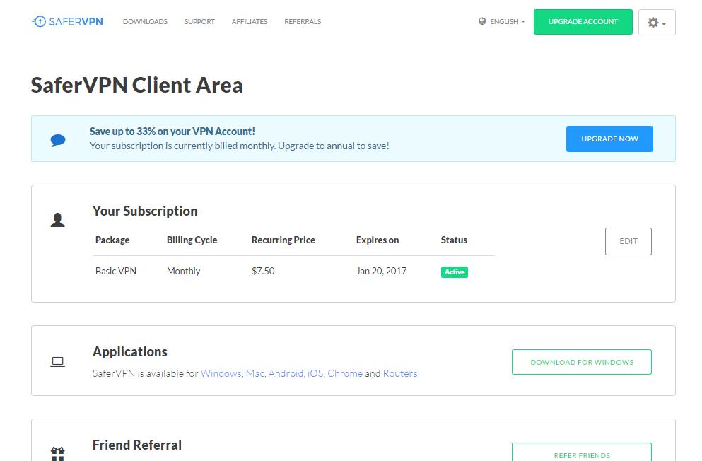 SaferVPN Client Area