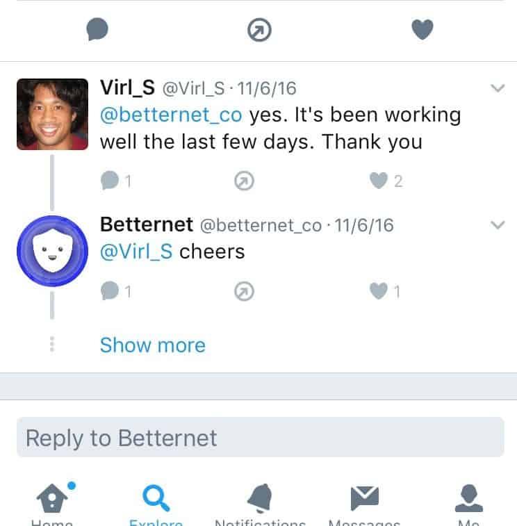 BetternetVPN Twitter Feedback 4