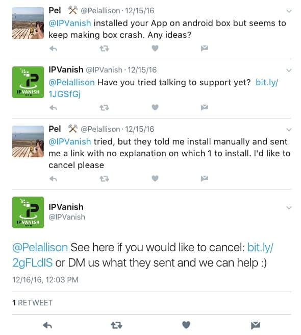 IPVanish Social Feedback