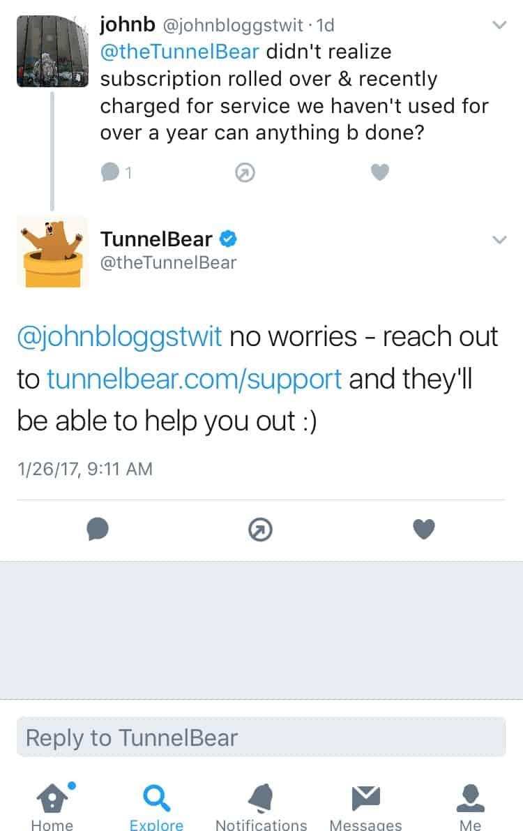 TunnelBearVPN Twitter Feedback 2