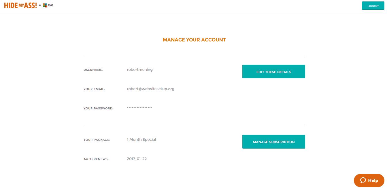 HideMyAss VPN Account Editing Screen