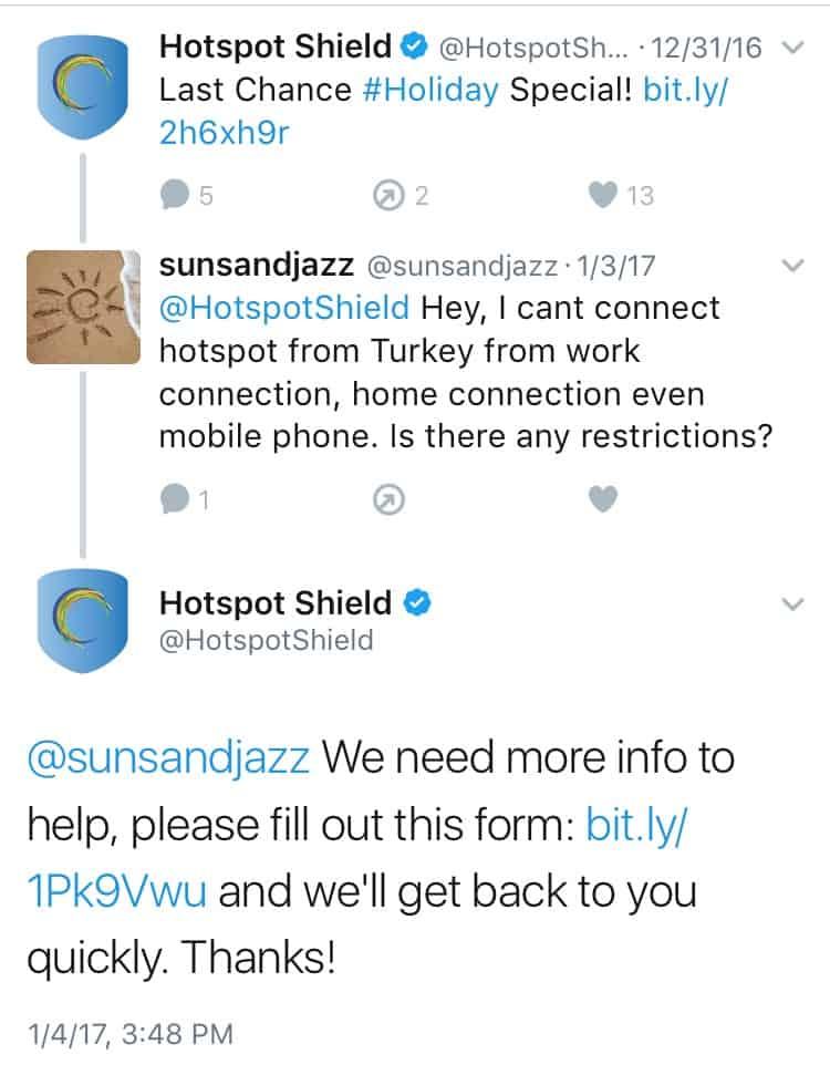 Hotspot Shield VPN Twitter Feedback 2
