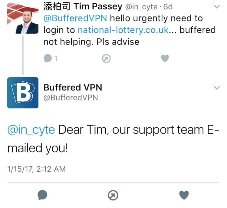 BufferedVPN Twitter Feedback