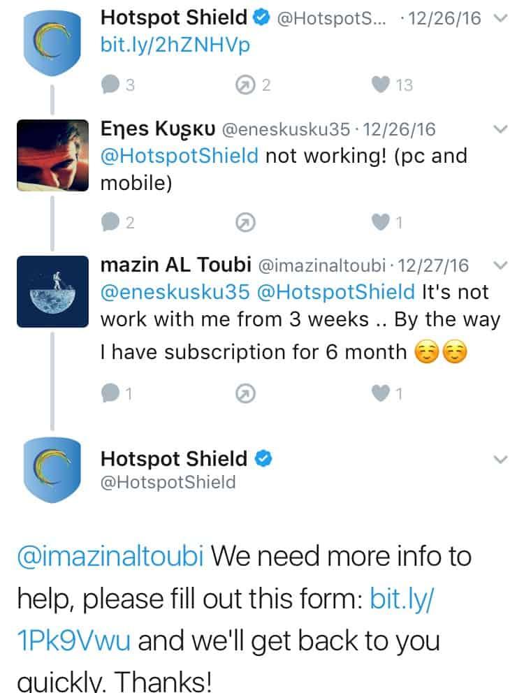 Hotspot Shield VPN Twitter Feedback 1