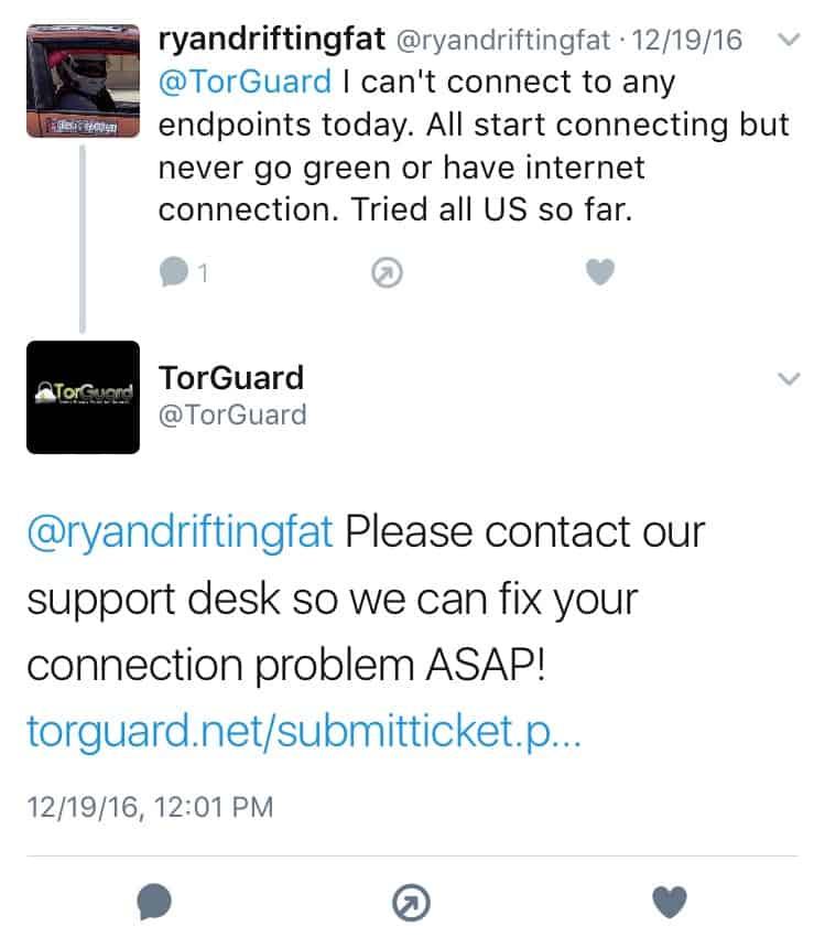 Torguard VPN Twitter Feedback 2