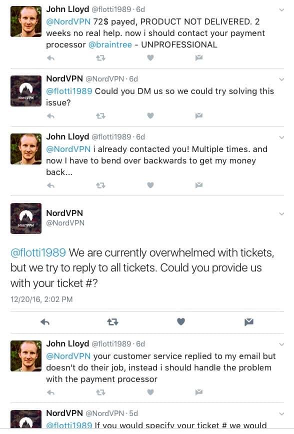 NordVPN Twitter Customer Support 2