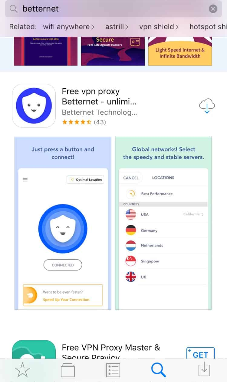 BetternetVPN Install From AppStore