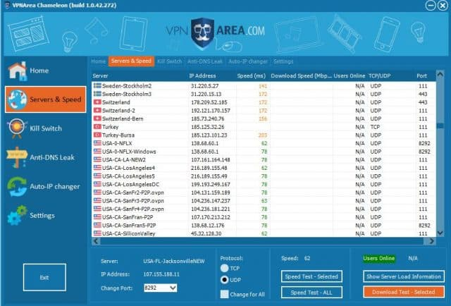 VPNArea user interface