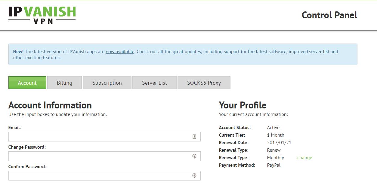 IPVanish VPN Dashboard