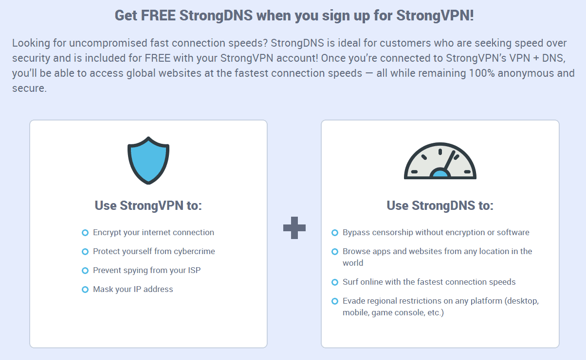 You also get StrongDNS with StrongVPN purchase.
