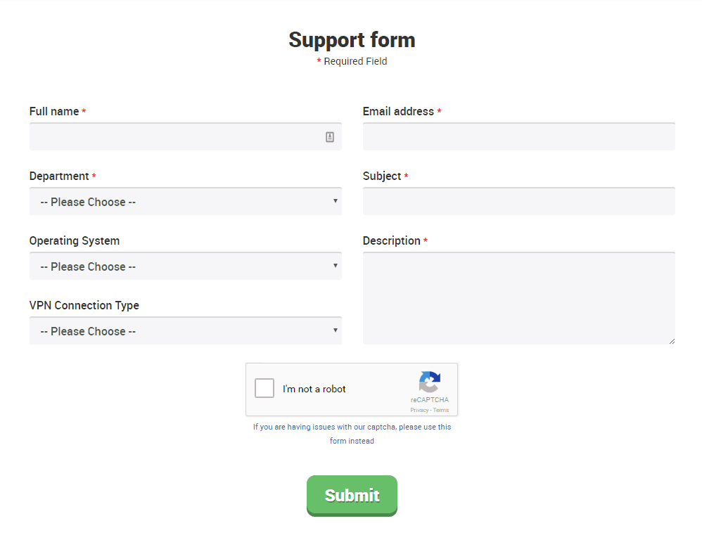StrongVPN support form.