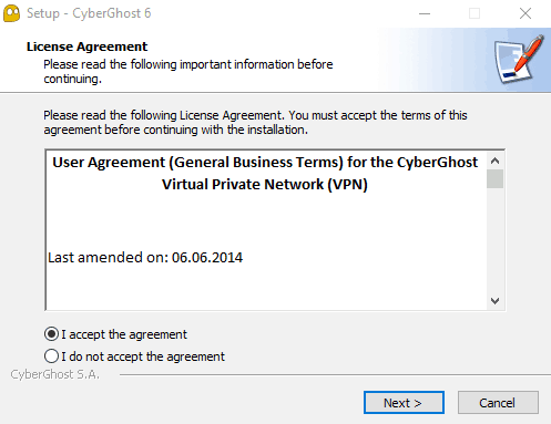 License agreement to download and install CyberGhost.