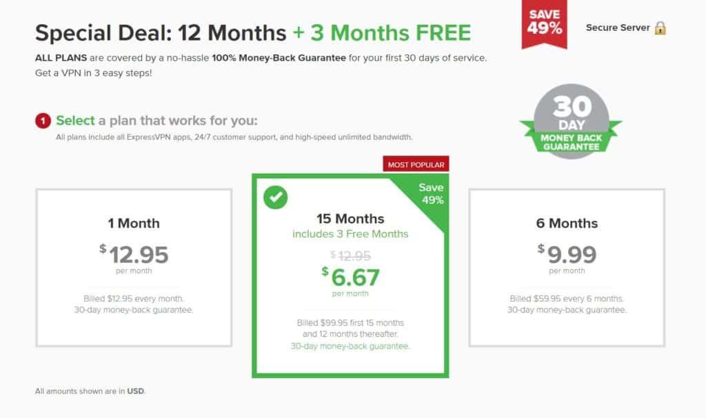 ExpressVPN pricing options