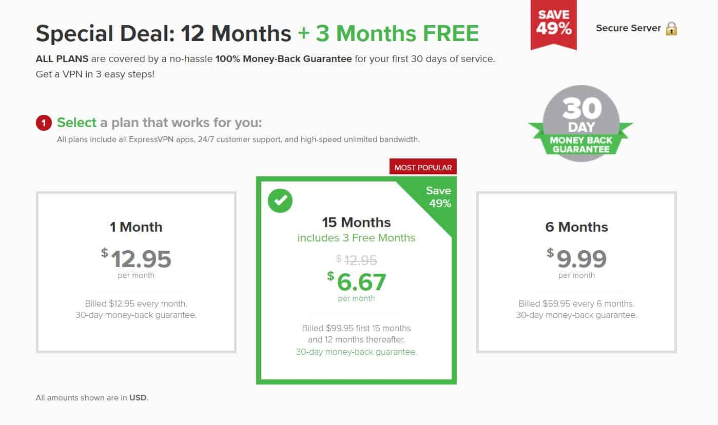 ExpressVPN pricing options