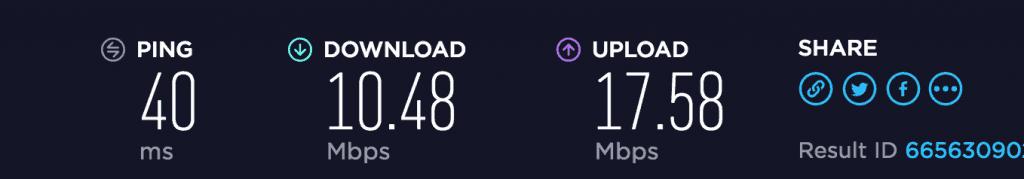 Mullvad VPN download and upload speed