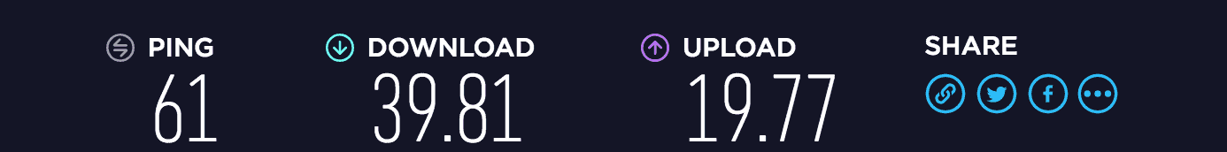Windscribe download and upload speed