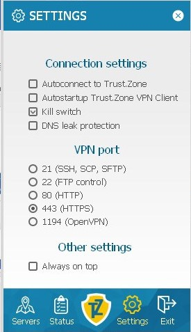 Trust.Zone client settings