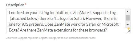 ZenMate issue description