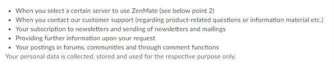 Zenmate logging policy