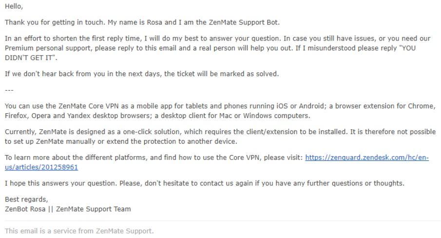 ZenMate support bot Rosa