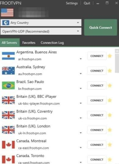 FrootVPN client server list