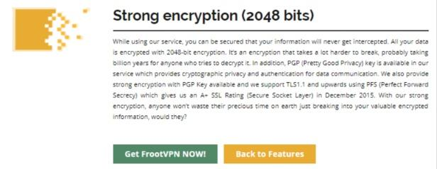 FrootVPN encryption
