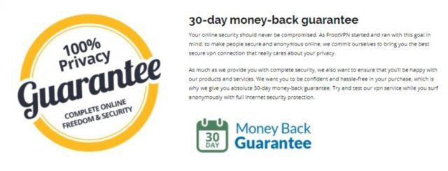 FrootVPN money back guarantee