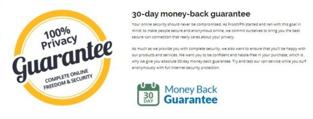 FrootVPN money back guarantee