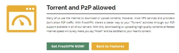 FrootVPN torrent and P2P