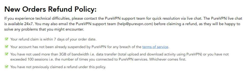 purevpn refund policy is strict
