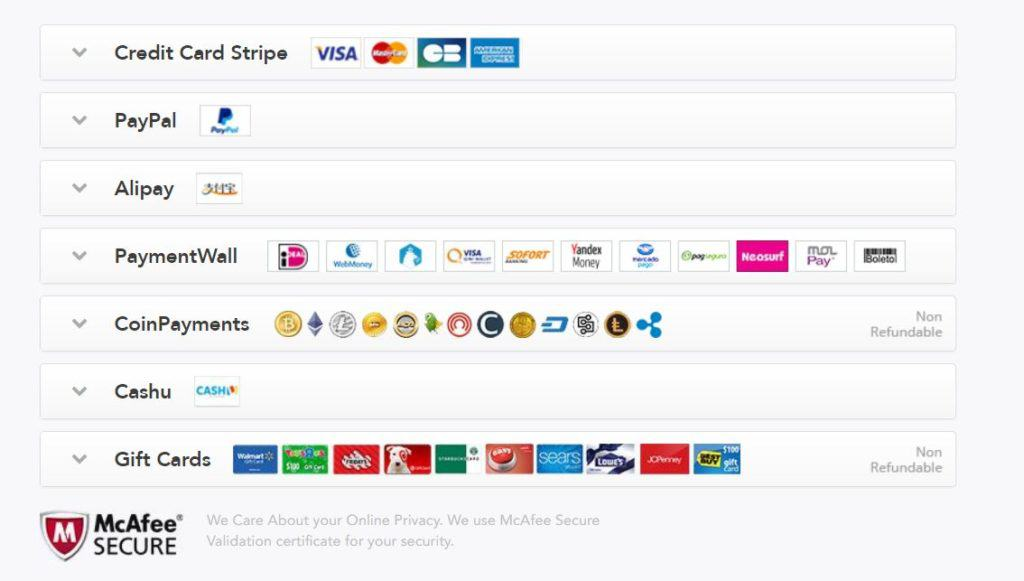 PureVPN has lots of payment options