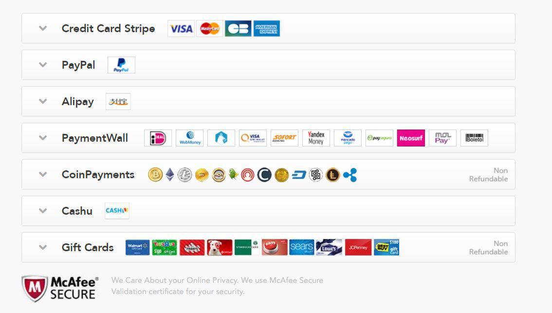 PureVPN bietet viele Zahlungsmöglichkeiten