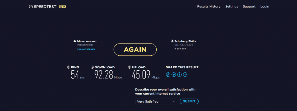 Download and upload speed test
