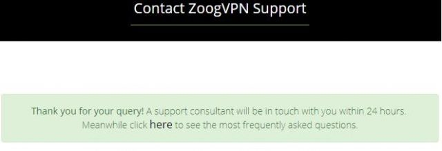 ZoogVPN contact form