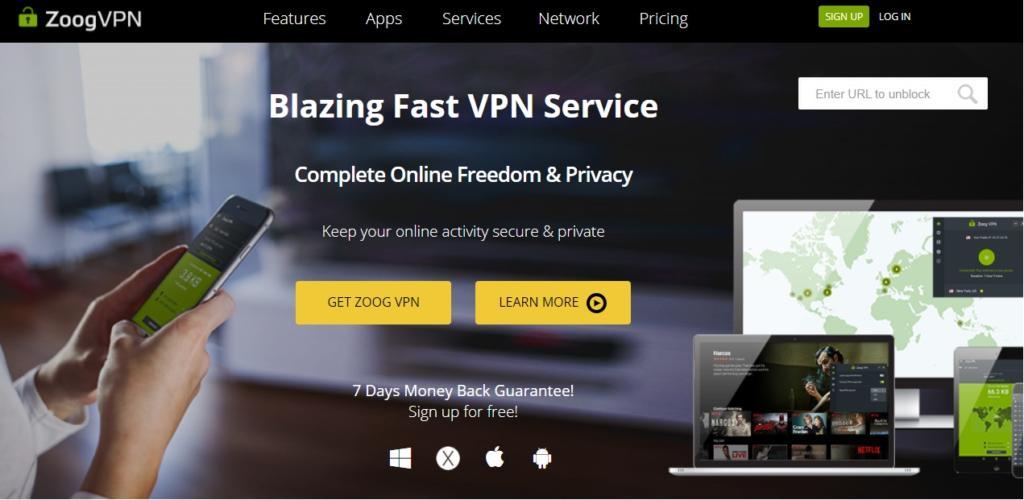 ZoogVPN homepage