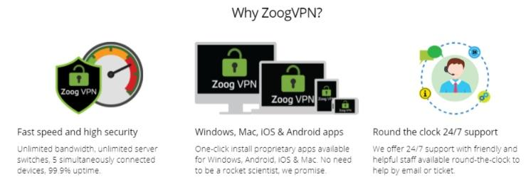 ZoogVPN features and benefits