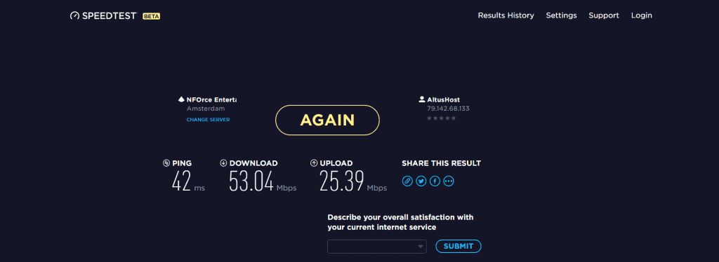 Ivacy Download and Upload speed test