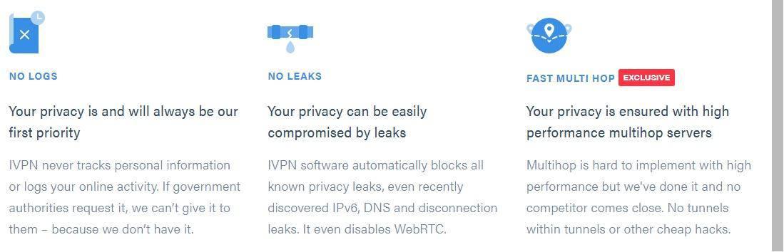 IVPN no logs no leaks fast multi hop