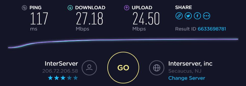 VPNSecure download and upload speed