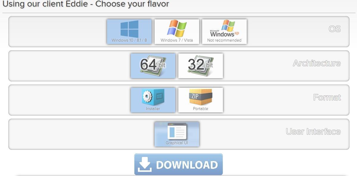 AirVPN download options