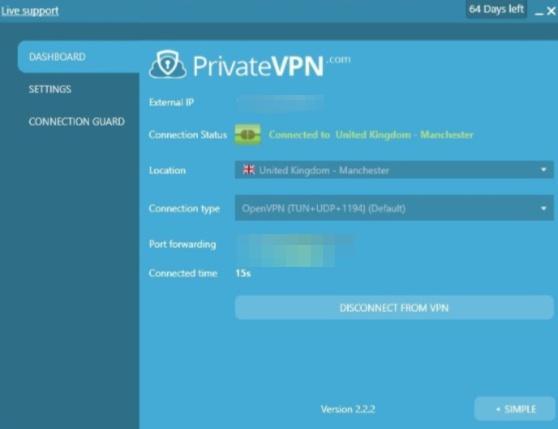 PrivateVPN user dashboard