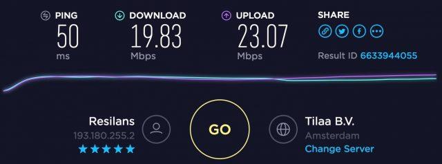 PrivateVPN speed test Netherlands server