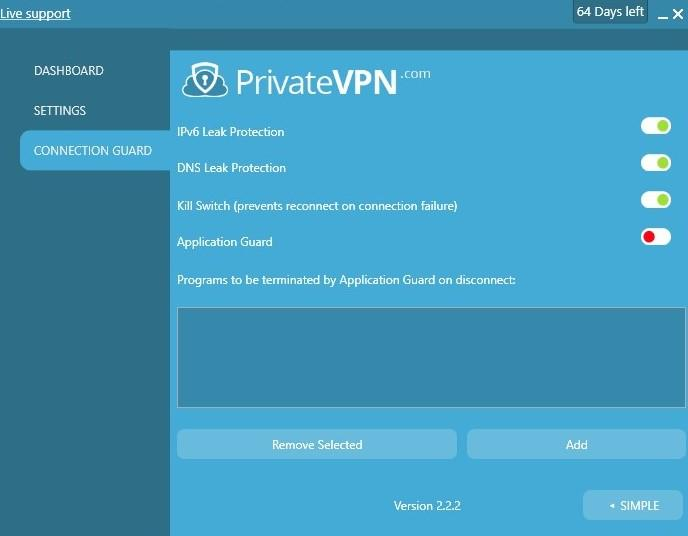PrivateVPN connection guard options