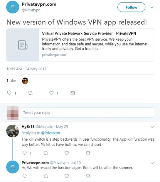 PrivateVPN social media tweet