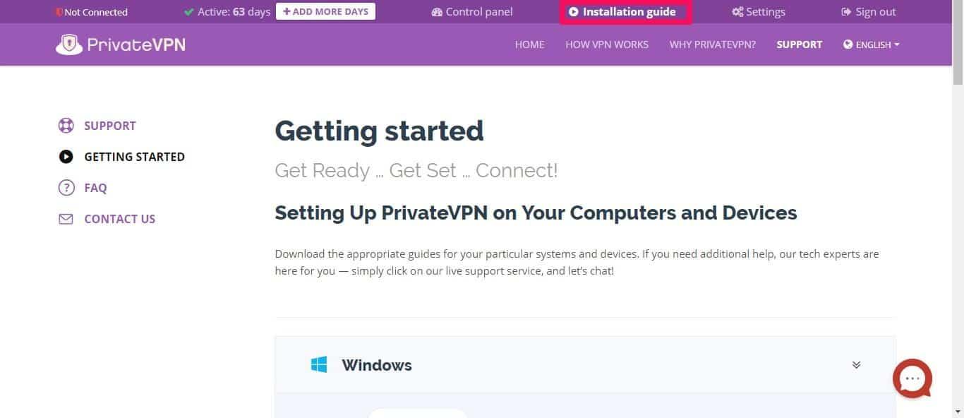 PrivateVPN installation guides